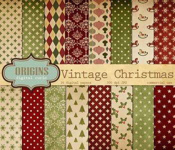 Vintage Retro Christmas Digital Paper Backgrounds Pack
