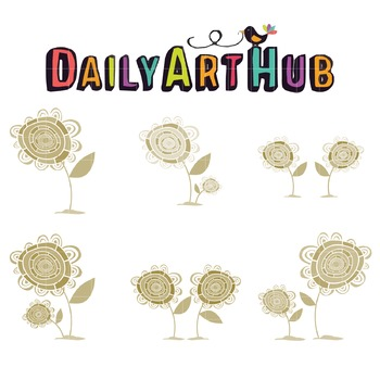 Vintage Retro Flower Clip Art - Great for Art Class Projects!