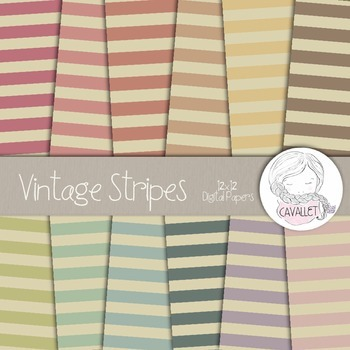 Vintage Stripes - Digital Papers