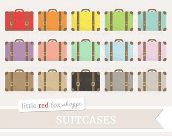 Vintage Suitcase Clipart; Travel, Vacation