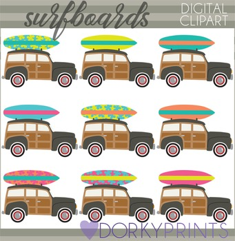 Vintage Surfing Clipart