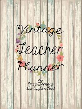 Vintage Teacher Planner--Editable