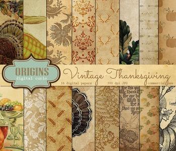 Vintage Thanksgiving Digital Scrapbook Paper