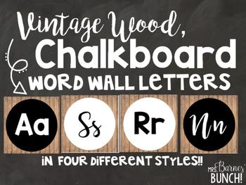 Vintage Wood Chalkboard Word Wall Letters