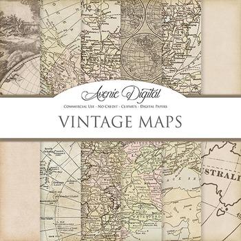 Vintage maps Digital Paper patterns scrapbook Worn old map