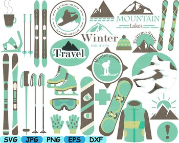 Vintage snowboard ski svg clip art ice snow mountain extre
