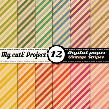 Vintage stripes DIGITAL PAPERS - Scrabooking digital - Bic