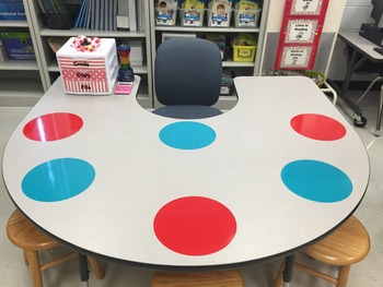 Vinyl Dry Erase Cirlces/Mats~Red and Turquoise