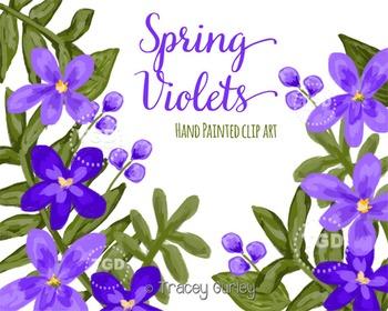 Violet Clip Art Set, Violet Flowers - Floral Clip Art Trac