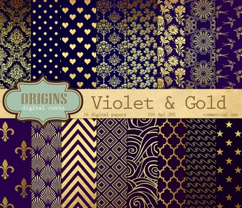 Violet and Gold Digital Scrapbook Paper Pack, Blue and Pur