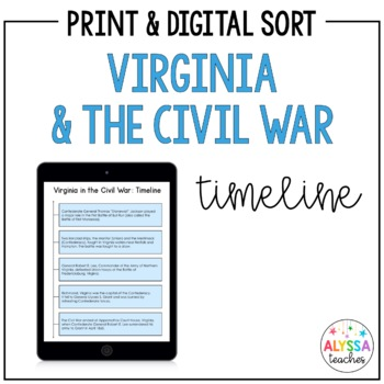 Virginia Civil War Battles Timeline Worksheet (VS.7b)