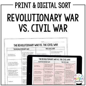 Virginia Civil War vs. Revolutionary War Sorting Cards (VS