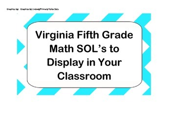 Virginia Fifth Grade Math SOL Classroom Posters