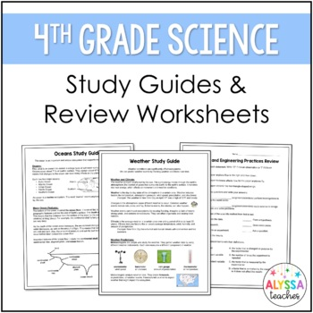 Virginia Fourth Grade Science Study Guides and Review Work