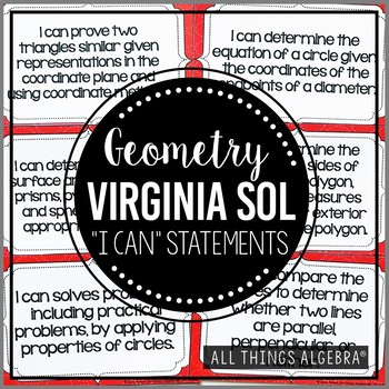 """Geometry: Virginia SOL """"I Can"""" Statements"""