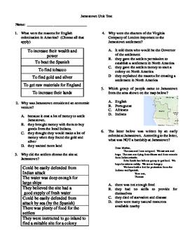 Virginia History Jamestown Unit Test