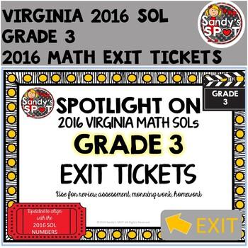 Virginia SOL Exit Tickets Grade 3 Math