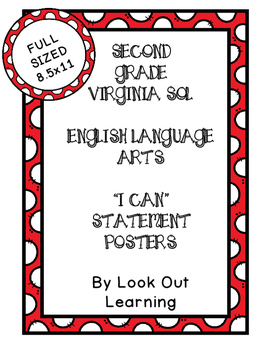 "Virginia SOL ""I Can"" Statement Posters- Second Grade Langu"