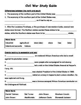 Virginia Studies Civil War Study Guide
