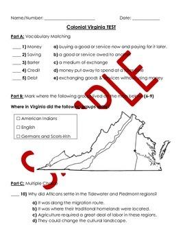 Virginia Studies: Colonial VA Study Guide and TEST - VS.4