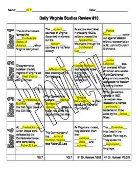 Virginia Studies Daily Review Worksheet #10 and KEY - VS.7ab