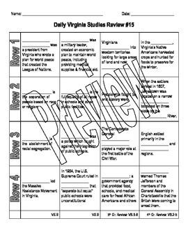 Virginia Studies Daily Review Worksheet #15 and KEY - VS.9