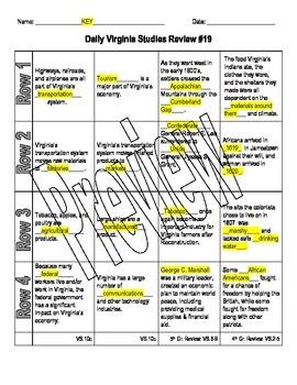 Virginia Studies Daily Review Worksheet #19 and KEY - VS.10c