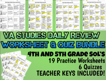 Virginia Studies Daily Review Worksheet Bundle - 4th & 5th
