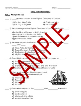 Virginia Studies: Early Jamestown Study Guide and Quiz - V