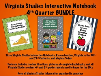 Virginia Studies Interactive Notebook 4th Quarter BUNDLE