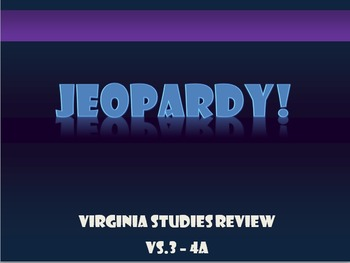 Virginia Studies (VS.3) Jamestown Jeopardy Review Game