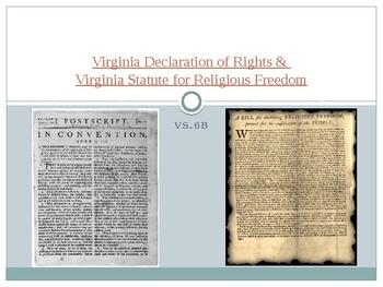 Virginia Studies VS.6b VA Declaration of Rights & Statute