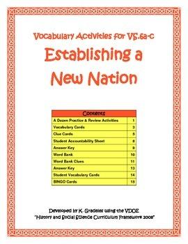 Virginia Studies Vocabulary Activities - Establishing a Ne
