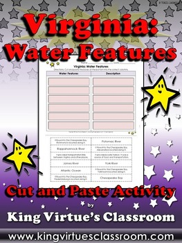 Virginia: Water Features Cut and Paste Activity - James Ri