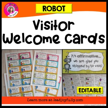 Visitor Welcome Cards- ROBOT Theme (Principals or Teachers)