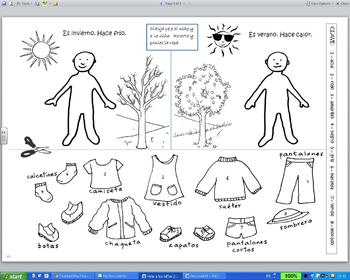 ¿Qué me pongo? weather and clothing activity