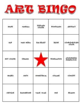 Visual Arts: Art Vocabulary Bingo BUNDLE (PDF) (Review or