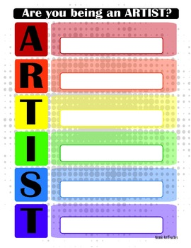 Visual Arts Classroom Rules. Template and Example