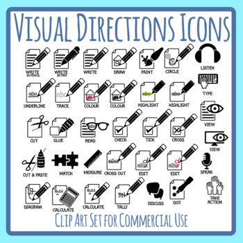 Visual Directions / Cues / Following Directions Icons Clip