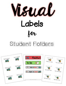Visual Labels for classwork folder - Great for Autism Classroom!