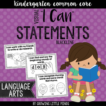 """Visual """"I Can"""" Statements for Kindergarten ELA Common Core"""