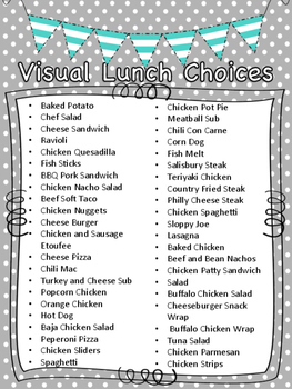 Visual Lunch Choices (teal)
