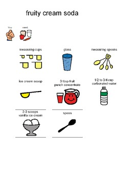 Visual Recipe for Fruity Cream Soda Float for students wit