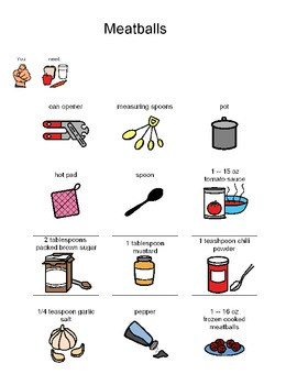 Visual Recipe for Making Meatballs for students with autism
