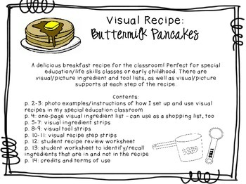 Visual Recipe for the Special Ed Classroom - Buttermilk Pancakes