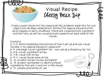 Visual Recipe for the Special Ed Classroom - Cheesy Bean Dip