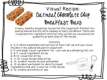 Visual Recipe for the Special Ed Classroom - Oatmeal Choc.