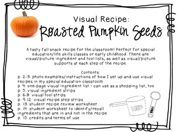Visual Recipe for the Special Ed Classroom - Roasted Pumpk