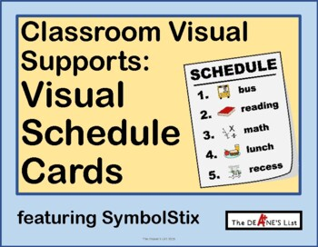 Visual Schedule Cards for Special Ed Classes featuring SymbolStix