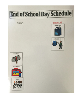 Visual Schedule for End of the School Day